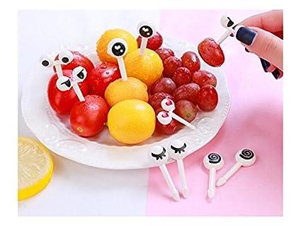 Blueqier Útil Diez pcs/Set Creativo Mini Ojos Dibujos Animados Fruta Palo Tenedor para Pastel