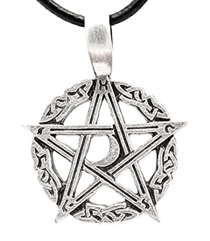 Pewter Pentagram Pagan Crescent Moon Pendant on Leather Necklace (Magical Crescent Moon Necklace)