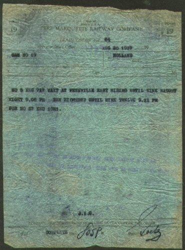 Marquette Railway Pere - Pere Marquette Railway Train Order Form 19 1937