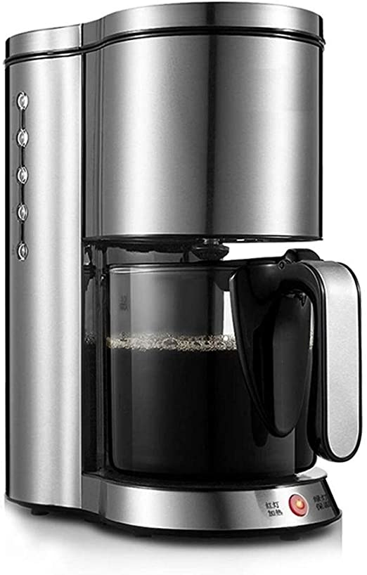 Qdesign Filtrar Inicio Automático De La Máquina De Café, Cafetera Goteo, Filtro Desmontable De Acero Inoxidable Máquina De Café con 1,25 litros Jarra De Cristal: Amazon.es: Hogar