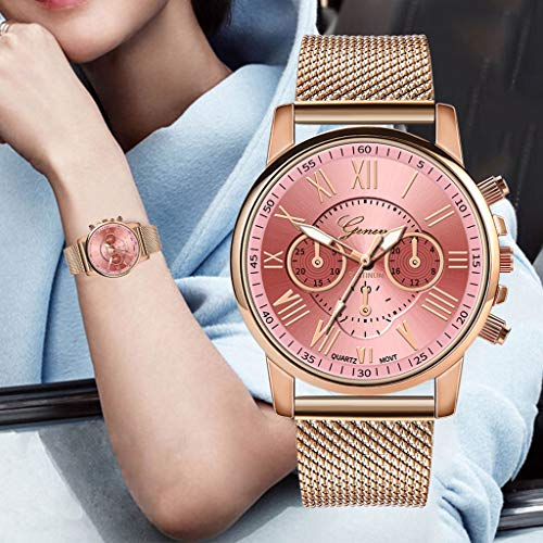 Pocciol Fashion Military Stainless Steel Quartz Watch Womens Casual Watch Luxury Analog Wristwatch (Pink) by Pocciol Cheap-Nice Watch (Image #1)