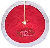 Red and White Christmas Tree Skirt by Clever Creations | Embroidered with ''Merry Christmas'' | Traditional Theme Festive Holiday Design |Helps Contain Needle and Sap Mess on Floor | 42'' Diameter