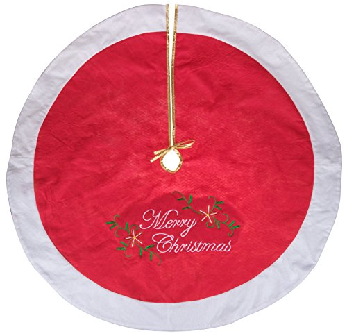 Catch Ball Money Clever (Red and White Christmas Tree Skirt by Clever Creations | Embroidered with