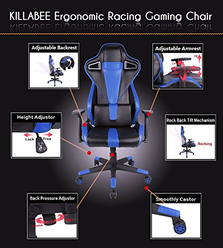 511buqyQ8mL - KILLABEE-Racing-Gaming-Chair-Ergonomic-High-Back-PU-Leather-Office-Chair-Computer-Desk-Swivel-Chair-with-Headrest-and-Lumbar-Support-Blue
