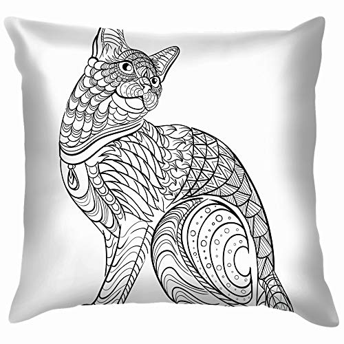 Hand Drawn Ink Coloring Book Animals Wildlife Adult Nature Soft Cotton Linen Cushion Cover Pillowcases Throw Pillow Decor Pillow Case Home Decor 22X22 Inch