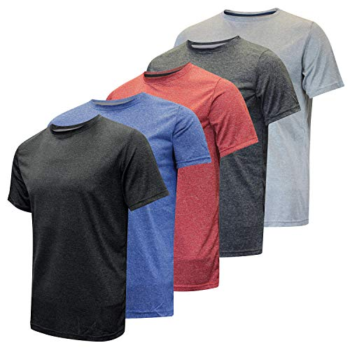 Dri-Fit Short Sleeve Active Wear Training Athletic Tech Essentials T-Shirt Fitness Gym Top - 5 Pack,Set 2-XL ()