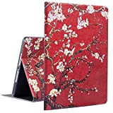 iPad Case iPad 9.7 2018/2017 Case with Smart Auto Wake Sleep, Egoing iPad Air 1 Case Cover iPad Air 2 Soft TPU Protective Viewing Typing Folio Stands for Apple iPad (Apricot Flower Red)
