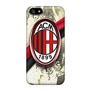 Shock Absorbent Hard Cell-phone Cases For Iphone 5/5s With Provide Private Custom Realistic Ac Milan Image AnnaDubois