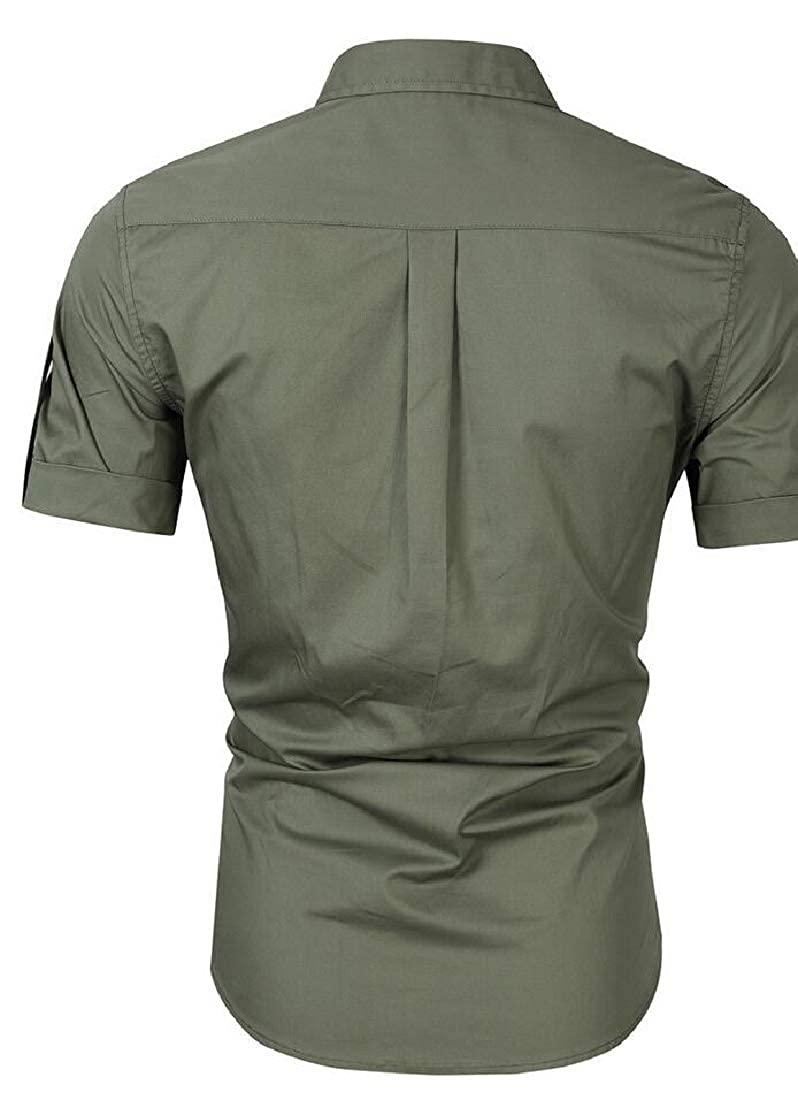 Beloved Mens Classic Military Stylish Button Front Casaul Short Sleeve Cotton Shirts