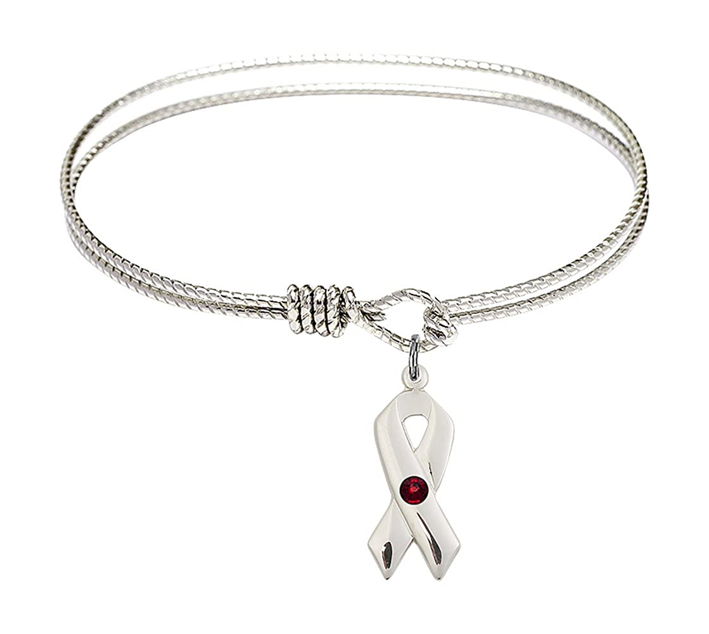 Cancer Awareness Charm On A 6 1//4 Inch Oval Eye Hook Bangle Bracelet