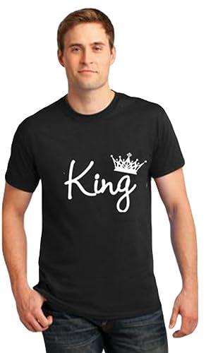 ZKOO Camisetas de Manga Corta para Parejas King and Queen Corona Impreso Hombre y Mujer T-shirts Cam...