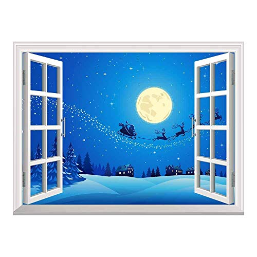 Cartoon Santa Claus and Reindeer Flying Over The Town with The Full Moon on a Quiet Christmas Eve Night | Peel and Stick Self-Adhesive Wall Mural - 24
