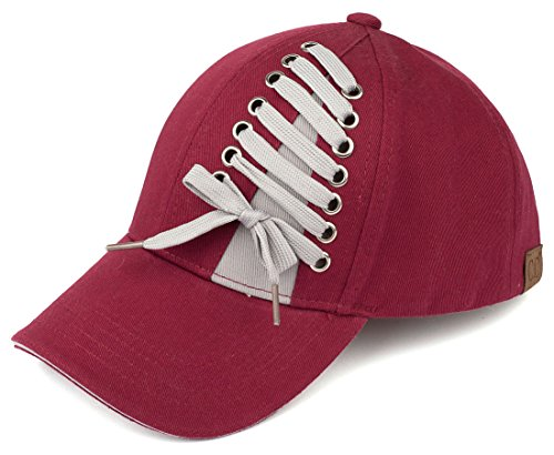 H-6715-64 Funky Junque Lace Up Baseball Cap - Burgundy from Funky Junque