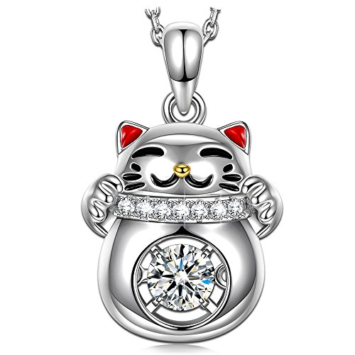Sterling Silver Enamel Pendant (Dancing Heart Lucky Cat Necklace for women s925 Sterling Silver Necklaces Red Enamel Pendant Swarovski Necklace Diamond Jewelry for Women Birthday Gifts for girls Graduation Gifts for Daughter kids)