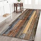 47 X 17 Inch Rustic Old Wooden Board Memory Foam Door mat Non Slip Super Absorbent Soft Coral Fleece Bathroom mats Bath Rugs Doormats Carpet