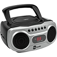 HDi Audio Boombox CD-518 Sport Stereo Portable CD Player with AM/FM Radio and Aux Line-In Boombox Black/Silver