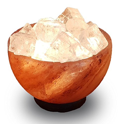 Price comparison product image HSC Fire & Ice Himalayan Crystal Salt Lamp Abundance Bowl pink white clear
