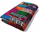 Indian Quilt -Vintage Quilt Old Patola Indian Silk Sari Kantha Quilted Patchwork Bedspread Bohemian Kantha Throws Silk Patola Quilt , Bed Cover ,Size 90'' X 108'' (Multi)