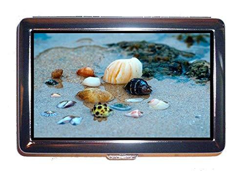 Cigarette Case/Box,Beach Ocean Sand,Protection Credit Business Card Holder Case (Me Umbrella Beach Near)