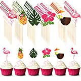 72 Pieces Hawaiian Luau Cupcake Toppers Cake Picks Toothpicks Decoration with Flamingo Pineapple Palm Leaves Shape for Summer Party Supplies Cake Decoration, 6 Styles
