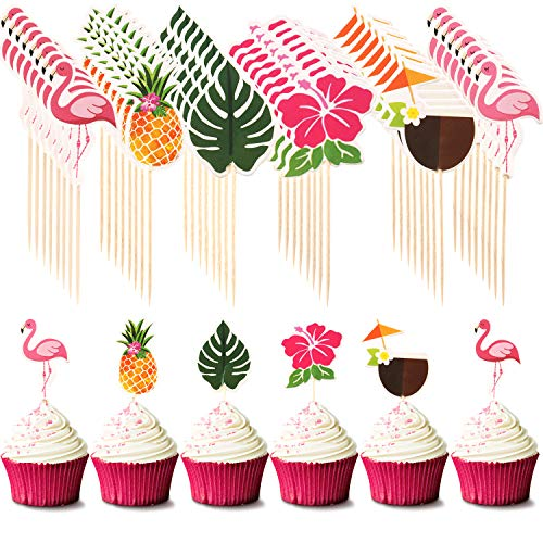 - 72 Pieces Hawaiian Luau Cupcake Toppers Cake Picks Toothpicks Decoration with Flamingo Pineapple Palm Leaves Shape for Summer Party Supplies Cake Decoration, 6 Styles