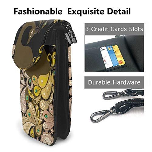 Hdadwy mobiltelefon crossbody väska elegant påfågel kvinnor PU-läder mode handväska med justerbar rem