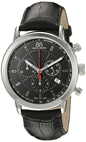 88-Rue-du-Rhone-Mens-87WA120048-Stainless-Steel-Watch-with-Black-Leather-Strap