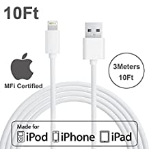 [Apple MFI Certified] Yellowknife® 10ft/3M Extra Long Lightning To USB Charger Cable Data Sync Charging Cord for Apple iPhone 6 6s Plus 5s 5c 5 iPad 2 3 4 Mini Air (White)