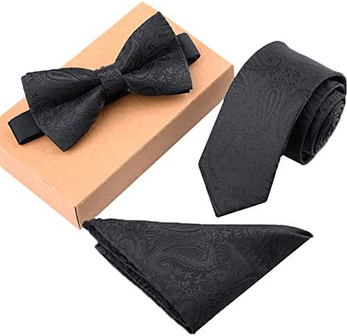 Ysiop Mens Polyester Skinny Neck ties Bowtie Pocket Square 3pcs Set