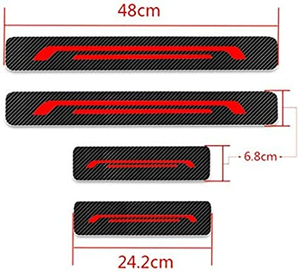 for Volvo Xc60 Xc70 Xc90 Isuzu D-max Car Door Sill Protector,/ 3D/ Reflective/ Carbon/ Fiber/ Vinyl/ Scuff/ Plate/ Guards/ Protective/ Anti-Scratch/ Waterproof/ Sticker Red