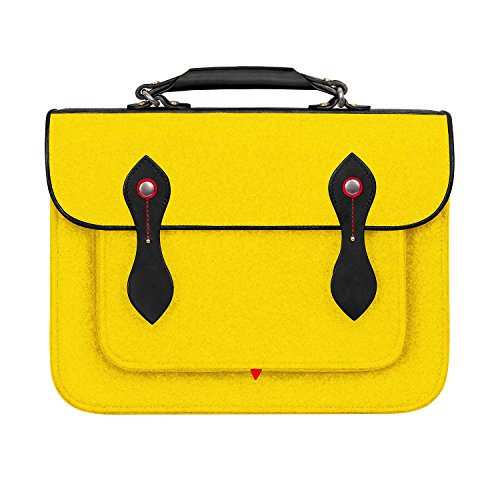 ice Bag Laptop Case Backpack Bookbags Messenger Bag Cambridge Wool Felt Shoulder Strap Bag Leather Briefcase for 15.4 inch MacBook Notebook/Tablet/Acer/HP/Dell/Lenovo etc.(yellow) (15.4 Inch Black Top Laptop Messenger)