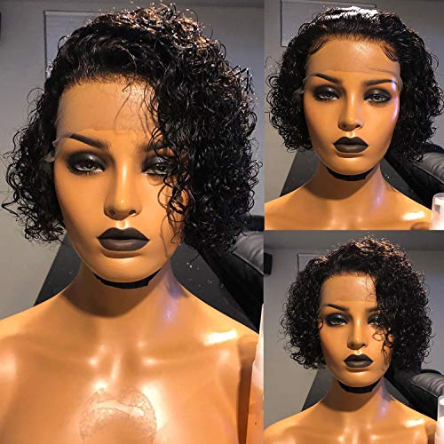 13x4 Lace Front Wigs Human Hair Pre Plucked 150% Density Short Curly Wig Pixie Cut Bob Lace Front Human Hair Wigs for Black Women