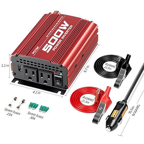 POTEK 500W Car Inverter 12V AC 110V with AC USB