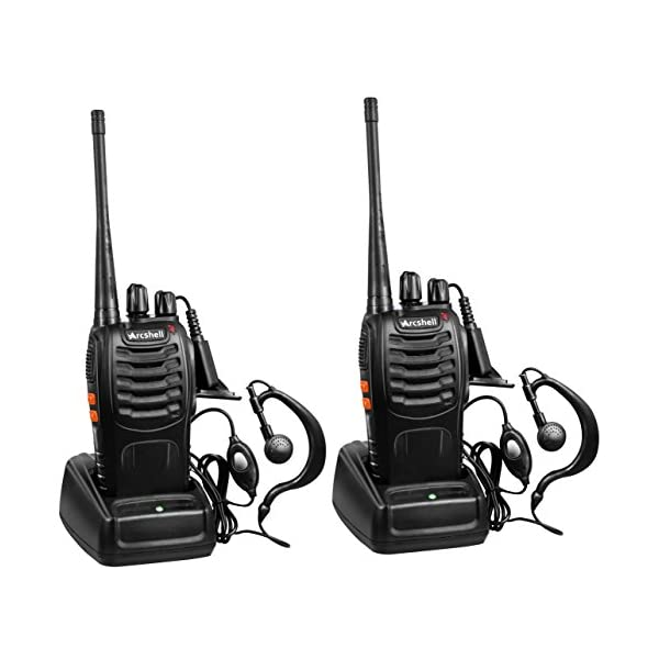 Arcshell Rechargeable Long Range Two-Way Radios with Earpiece 2 Pack UHF 400-470Mhz...