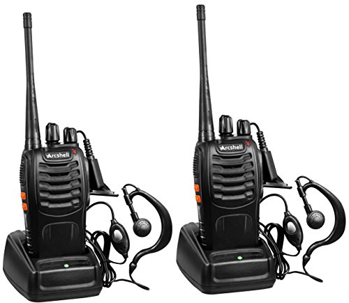 Solar Performance Set - Arcshell Rechargeable Long Range Two-Way Radios with Earpiece 2 Pack UHF 400-470Mhz Walkie Talkies Li-ion Battery and Charger Included