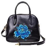 PIJUSHI Genuine Leather Tote Satchel Handbags Floral Top Handle Bag for Women 33091(One Size, Black/Blue)