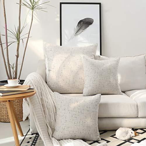 Kevin Textile Soft Decorative Cushion Cover Cotton Linen Pillowcase with Hidden Zipper, 2 Packs, 26x26 inch, Birch Beige