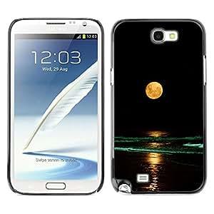 GOODTHINGS Funda Imagen Diseño Carcasa Tapa Trasera Negro Cover Skin Case para Samsung Note 2 N7100 - Luna Llena playa amarilla olas nigh mar océano