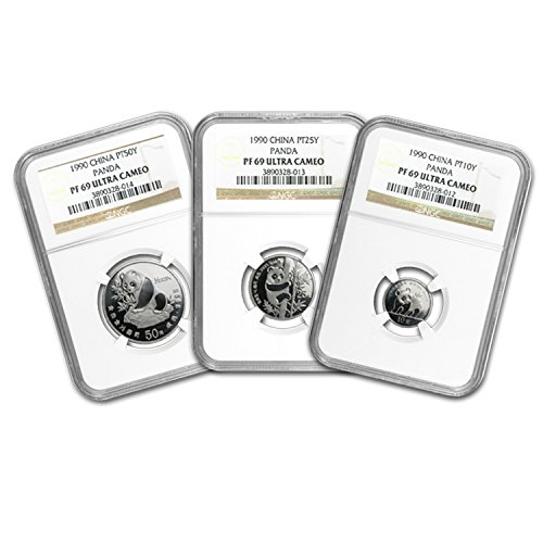 (CN 1990 China 3-Coin Platinum Panda Proof Set PF-69 NGC PF-69)