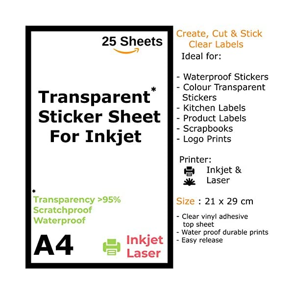 TeQuiero 25 Transparent Sticker Sheet A4 Paper Label Self Adhesive Sheets for Printing Stickers and Clear Labels (Inkjet & Laser Printer) - 25 Sheets