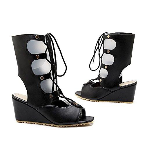 AgooLar Mujeres Puntera Abierta Cordones Cuero Sólido Plataforma Sandalia Negro