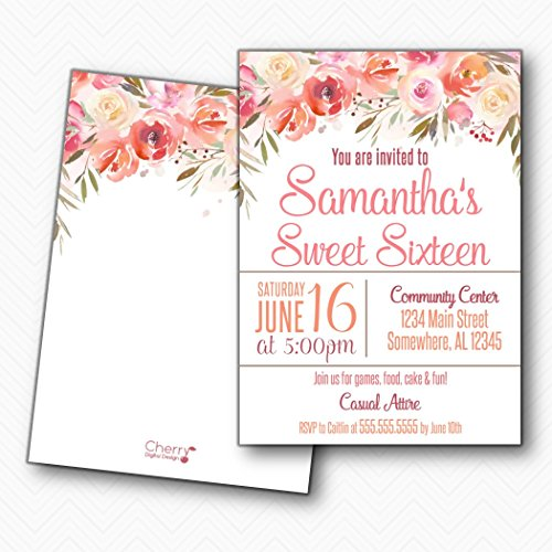 Beautiful Printed Floral Sweet Sixteen Birthday Party Invitations | Envelopes is included