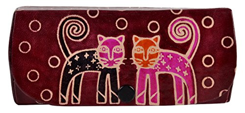 SAAGA Hand Painted Leather Eye Glasses Reading Glasses Holder Spectacles case with Cat Motifs / Handmade : 5.5x2.5x1 inches (LxBxH) Ideal for Standard Reading - Real Glass Eyeglasses