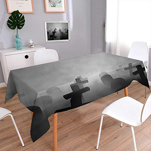 - L-QN Polyester Polyester Polyester Rectangle Decor Render of a Graveyard Tombstone Funeral at Night Spooky Ghostly Grunge Picture Rectangular Polyester Tablecloth 70