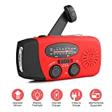 [2018 Upgrade]Houkiper Portable Emergency Weather Radios Hand Crank Solar Self Powered NOAA WB AM FM Radio /Bright LED Flashlight 1000mAh Phone Power Bank for Hurricane Camping Outdoor Survival(Red)