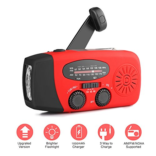 Flashlight Radio Crank Hand ([2018 Upgrade]Houkiper Portable Emergency Weather Radios Hand Crank Solar Self Powered NOAA WB AM FM Radio /Bright LED Flashlight 1000mAh Phone Power Bank for Hurricane Camping Outdoor Survival(Red))