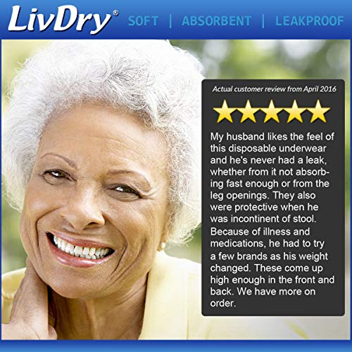 LivDry Adult XXL Incontinence Underwear, Extra Comfort Absorbency, Leak Protection, XX-Large, 48-Pack