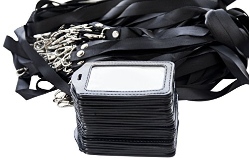 25 Pack Lanyards PU Leather Identification Badge Holder for Conferences, Office Visitors, Security Credentials