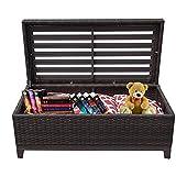 PATIORAMA Outdoor Patio Wicker Storage Deck Box & Garden Bench Deck Box with White Seat Cushion, Espresso Brown,Aluminum Frame