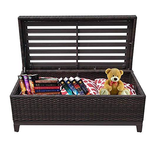 PATIORAMA Outdoor Patio Wicker Storage Deck Box Garden Bench Deck Box with White Seat Cushion, Espresso Brown,Aluminum Frame